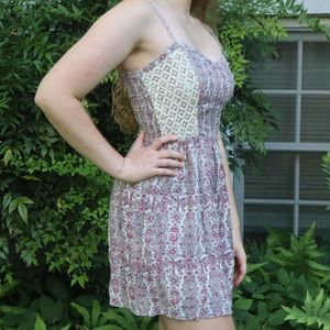 Patterned Pink and White Dress with Lace